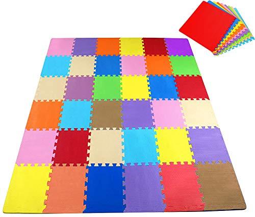 Sosila Puzzlematte Schutzmatte Kinderspielteppich Puzzleteppich Spielmatte Spielteppich Schaumstoffmatte Lernteppich Boden Matte für Baby und Kinder wasserdicht umweltfreundlich schadstofffrei (Bunt)