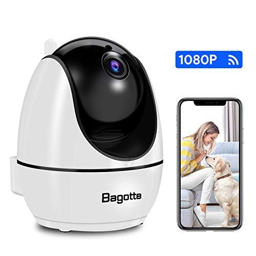 Camara Vigilancia WiFi Interior Bagotte Cámara IP WiFi 1080P 360° Control Remoto Visión Nocturna 2-Vías Audio Bidireccional Detección Movimiento & Alarma Email iOS/Android/PC
