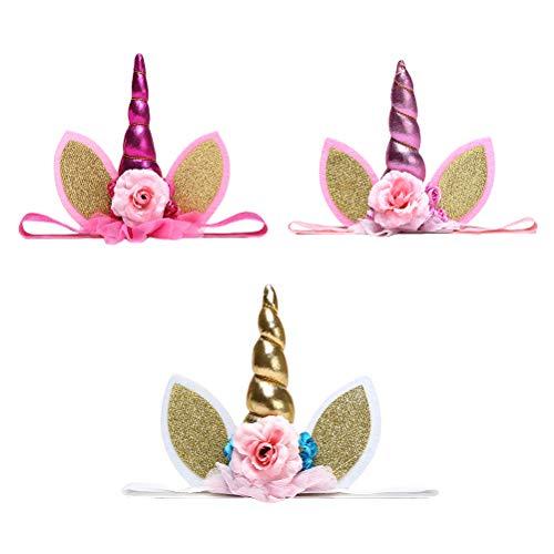 3 stuks eenhoorn hoofdband bloem oor elastische crown party haaraccessoires voor festival verjaardag