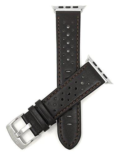 Bandini Ersatzlieferung Uhrenarmband für Apple Watch 38mm, Leder Braun, Perforiert, Stil Gt Rally