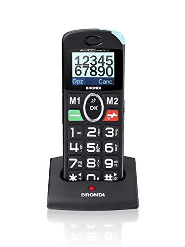 Brondi Amico Pratico, Telefono cellulare GSM per anziani con tasti grandi, tasto SOS e funzione da remoto, dual SIM, volume alto