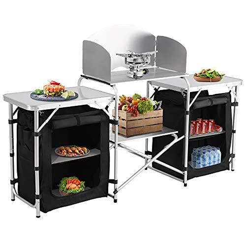 Spaire Klappbare Campingküche mit Ablagefach, mit Windschutz Reiseküche | Outdoorküche Kochtisch...