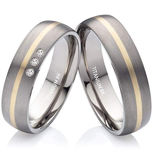 Eheringe Verlobungsringe Trauringe aus Titan und Gold mit 3 Diamanten Gratis Lasergravur TG376
