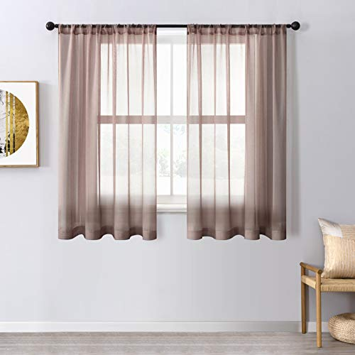 CUTEWIND Brown Sheer Curtain Panels Gauzy Drapes 54 inch Long Rod Pocket for Bathroom Kitchen Sheer Drapery Window Curtains for Small Window 37 x 54 inch, Set of 2 Panels