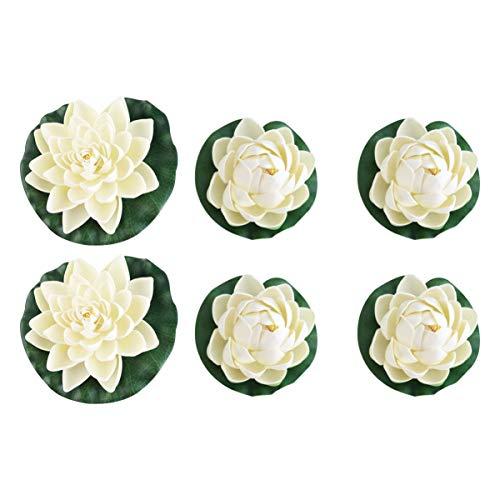WINOMO 6pcs künstlichen Teich Pflanzen Lotus Lilien (weiß)