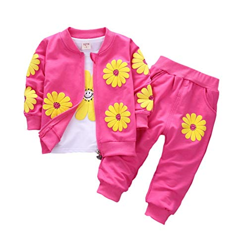 Gyratedream Kleidung Baby Mädchen T-Shirt Jacke Hosen 3 Stücke Outfits Casual Trainingsanzüge Langarmshirts + Pants + Outwear für 0-4 Jahre Kinder