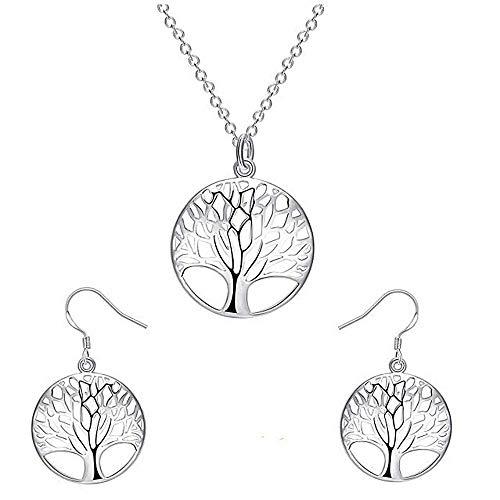 Sets - ketting - pak - geluksbrenger - oorbellen - levensboom - zilveren kleur - symbool - vrouw - meisje - cadeau-idee - verjaardag - kerstmis