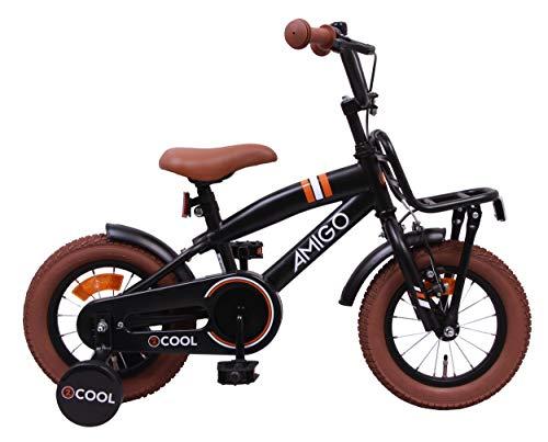 Amigo 2Cool - Kinderfahrrad - 12 Zoll - Jungen - mit Rücktritt und Stützräder - ab 3 Jahre - Schwarz