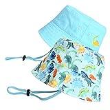 accsa Cappello da Sole per Bambini 2 Pezzi Cappello da Pescatore in Cotone Cappello da Spiaggia per Neonato Cappello Solare Cappelli con Sottogola Regolabile