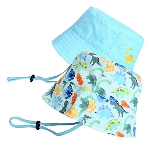 accsa Sombrero de Sol 2 Piezas Algodón Plegable Sombreros de Pescador Sombrero de Cubo Verano de Playa para Bebés Gorra con Correa de Barbilla Ajustable