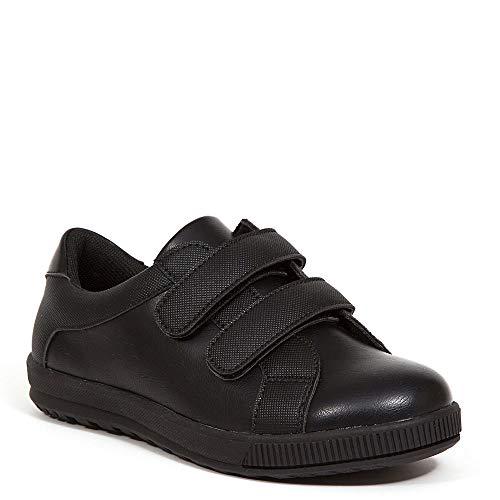 Deer Stags boys Hook and Loop School Uniform Shoe, Black, 1 Little Kid US