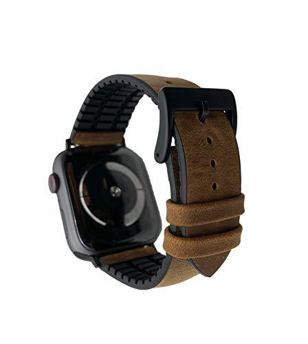 TOWER Correa de reloj Tower de piel y silicona, 22 mm, marrón, estilo Crazy Horse, encerado, para Apple Watch 42 mm y 44 mm, incluye adaptador, también compatible con Samsung Galaxy Watch 46 mm