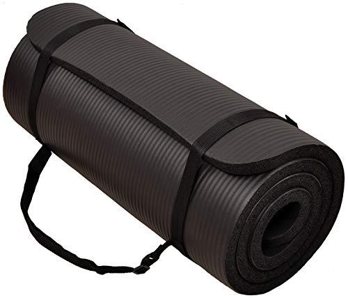 BalanceFrom GoCloud - Esterilla multiusos de 1 pulgada extra gruesa de alta densidad antidesgarro para yoga con correa de transporte (negro), 180 cm de largo 60 cm de ancho