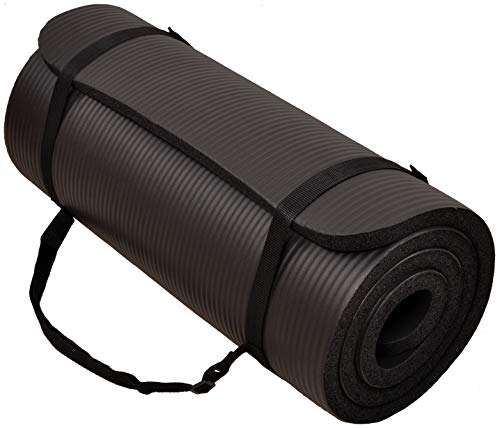 BalanceFrom GoCloud All-Purpose 1-Inch Extra Thick High Density Anti-Tear Exercise Yoga Mat with Carrying Strap (Black), 71' Long 24' Wide