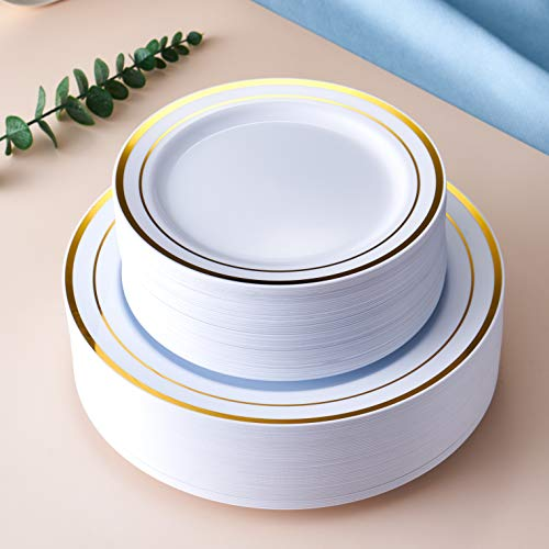 JYHOWIRE 102 Pieces Gold Plastic Plates, White Party Plates, Premium Heavyweight Disposable Wedding Plates Includes: 51 Dinner Plates 10.25 Inch and 51 Salad/Dessert Plates 7.5 Inch
