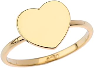 Dazzling 10k Yellow Gold Love Plain Heart Signet Ring