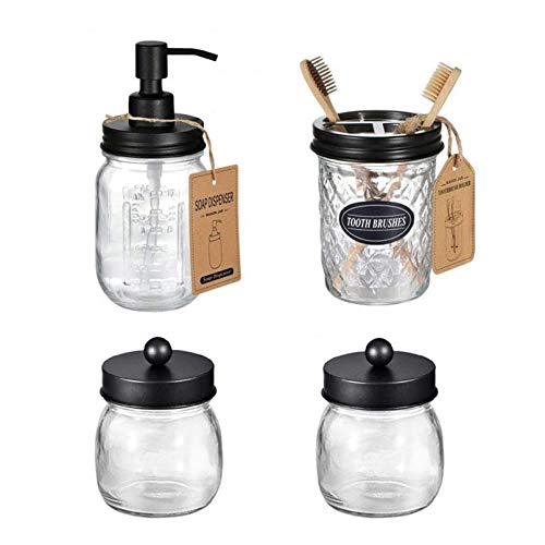 Cutfouwe Bathroom Accessories Set Mason Jar Soap Dispenser and 2 Potted Potes and 4-Part Toothbrush Holder, Bathroom Storage Box Ridding Gifts,Clear