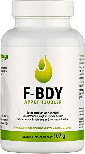 Vihado F-BDY Appetitzügler Kapseln – natürlich Abnehmen mit Konjakwurzel – mit anerkanntem Wirkstoff Glucomannan – vegan, ohne Zusatzstoffe, hochdosiert – 180 Kapseln