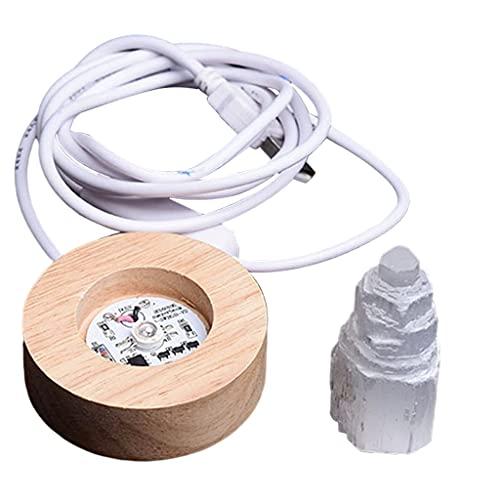 #N/a Lámpara de Cristal de Selenita Torre de Piedras Preciosas Yeso Luz LED Luz de Noche Habitación para El Hogar
