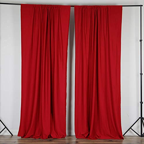 Efavormart 10FT Red Polyester Curtain Backdrop Drape Panel- Premium Collection for Window Wall Event Photoshoot Decoration