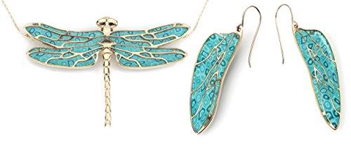 Adina Plastelina Handmade Jewellery Vergoldetes 925 Sterling Silber Libellen Schmuckset - 11x36mm Ohrringe und 45x55mm Kette aus Polymer Fimo im Türkisen Design, 42cm Gold-Filled Kette