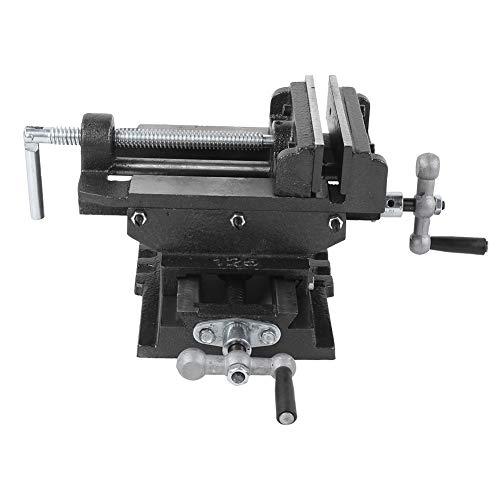 Tornillo de banco deslizante cruzado, máquina perforadora de mesa de alta precisión, alicates de punta plana herramientas de 5 pulgadas, hierro fundido, negro | para taladros de mesa, máquinas de perf