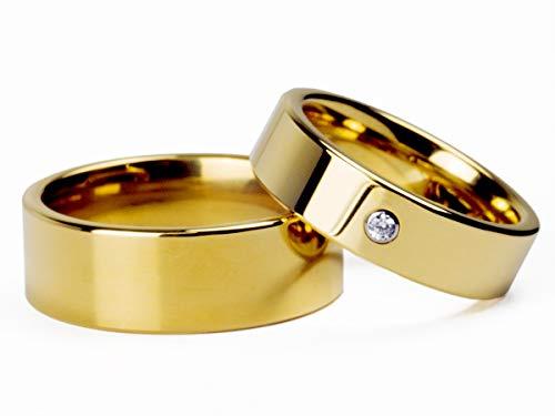 Par Alianças Banhada Ouro18k Reta 8mm e 6mm c/Zircônia Tungstênio Tamanho:8mm e 6mm;Cor:Dourado