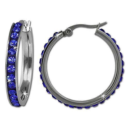Amello Creole 30mm Edelstahl Swarovski Elements blau Ohrring Edelstahlschmuck Stainless Steel ESOS04B