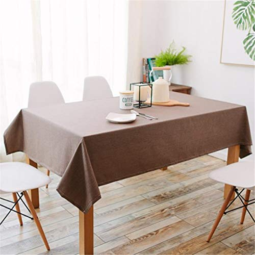 DJUX Waterproof Linen Coffee Restaurant Cotton and Linen Table Cloth Coffee Table Plain Solid Color Rectangular Table Cloth Anti-Scald Table Mat 120x160cm