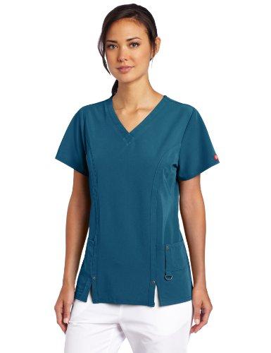 Dickies Damen Xtreme Stretch V-Ausschnitt Scrubs Shirt - Blau - Mittel