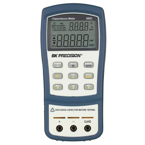 B&K Precision Dual Display 890C Backlit Capacitance Sorting Meter, Autoranging - Measures Capacitance Up to 50 mF, 0.5% Basic Accuracy