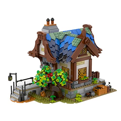 WWEI Arquitectura de casa modular medieval, bloques de construcción, 1316 piezas, edificios Street View, edificios urbanos, bloques de sujeción, compatible con Lego 21325, forja medieval
