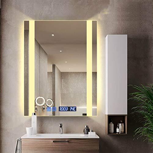 Badkamerspiegel met LED verlicht | verwarmingskussen voor spiegel | make-up spiegel zonder lijst voor digitale klok | horizontale of verticale ophanging