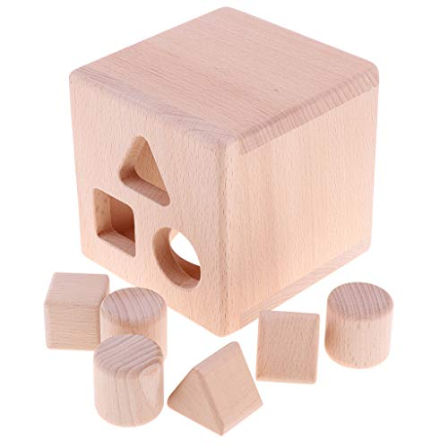 lahomia Clasificador de Forma de Cubo para Niños Juguetes Educativos Montessori de Madera Regalos