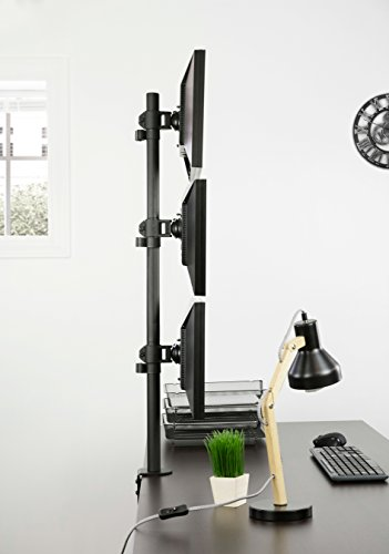 VIVO Triple LCD Monitor Desk Stand, Desktop Mount, Stacked Vertical 3 Screens up to 27 inches (STAND-V003V) Photo #5