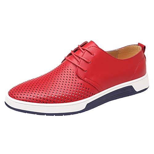 FNKDOR Schuhe Übergroße Größe (37-49) Herren Hohl Atmungsaktiv Freizeit Lederschuhe Runder Kopf Schnürsenkel Flacher Boden Turnschuhe Rot 45 EU