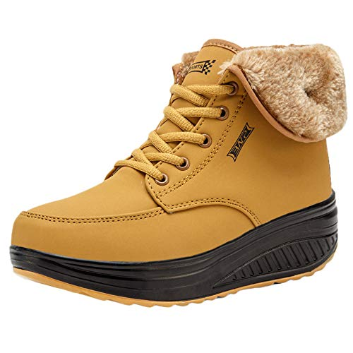 JERFER Frauen Freizeit Plus Velvet Bottom Schuh Keile Dicke untere Schneeschuhe
