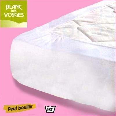 Blanc des Vosges Molleton 350gr/m² Alèze Housse, Coton, Blanc, 80x190 cm