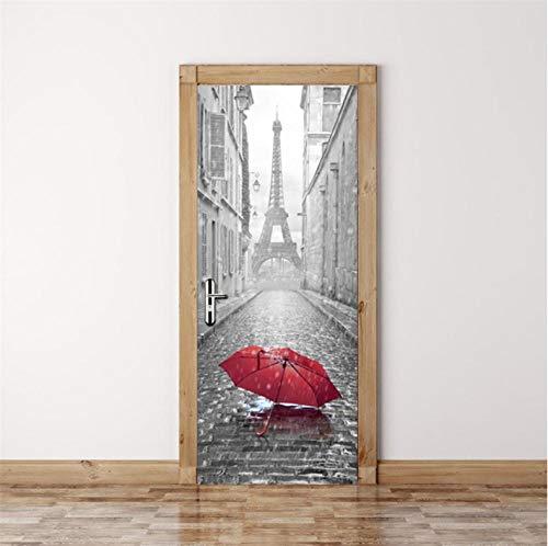 Bricolaje Mural puerta Fondo pantalla cristal PVC poster paisaje armario Decoración Hogar Paraguas rojo de la torre de París 3D Guardería Niños extraíble Sala Estar Espacio 77X200CM