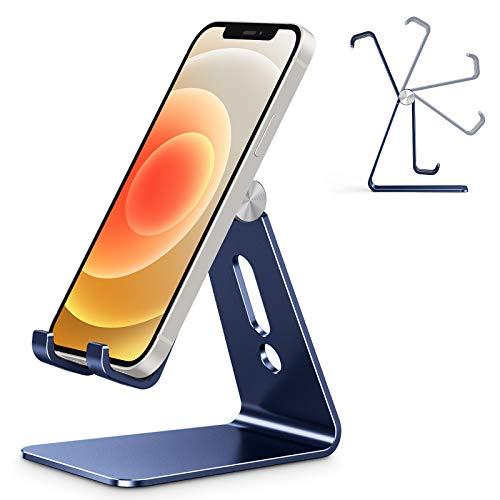OMOTON Soporte Teléfono Móvil Mesa, Base Móvil Ajustable de Escritorio, Apoyo Teléfono de Aluminio para iPhone 12 Pro MAX 12 Mini 11 XR SE, Xiaomi Redmi 9S 8 Pro 7, Samsung y Otras Smartphones, Azul