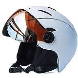 LAMZH Casco de Snowboard de esquí Moldeado de esquí Moldeado Integral Skate Skiing Skiing Snowboard Cascos con Gafas de Visera,Proteccion (Color : White, Size : XL61~63CM)