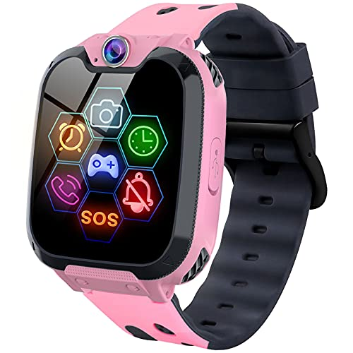 Smart Watch for Kids - Kids Smartwatch Boys Girls Kids Smart Watches with Call Camera 7 Children Learning Games Alarm Clock Music Player Calculator for 4-12 Years Kids Electronic Learning Toys (Pink)
