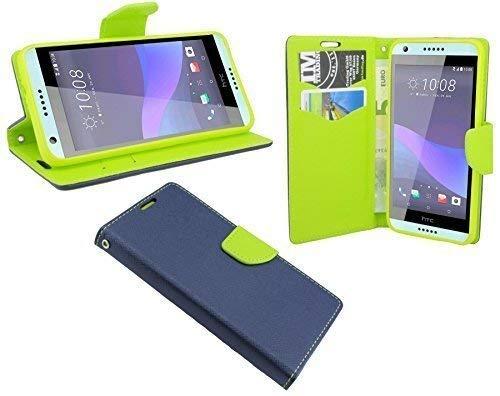ENERGMiX Elegante Buch-Tasche Hülle kompatibel mit HTC Desire 650 in Blau-Grün (2-Farbig) Leder Optik Wallet Book-Style Cover Schale