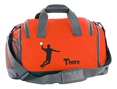 Mein Zwergenland Sporttasche Kinder mit Schuhfach und Nassfach Kindersporttasche 41L mit Namen personalisiert, Motiv Handball, in Orange