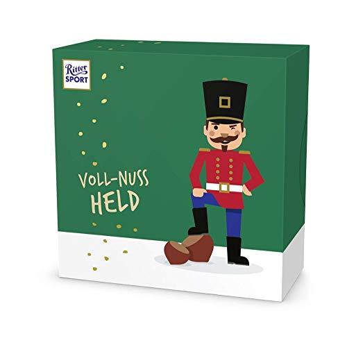 Ritter Sport Weihnachtsheld Voll-Nuss (10 x 162 g), Schokoladengeschenk zu Weihnachten, gefüllt mit knackigen Haselnuss-minis, Mix aus heller und dunkler Nuss-Schokolade