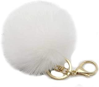 9.5cm Rabbit Fur Ball Pom Pom Keychain Fluffy Fur Keychain for Women Fur Pom Pom Key Chain(Light Pink)