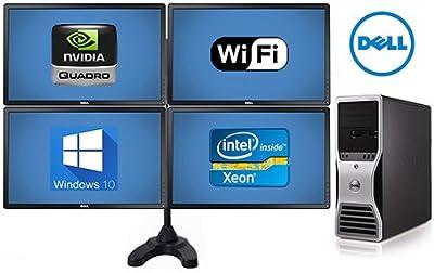 Trading Computer Dell Precision T5500 Workstation - 32GB Ram- 8 Core 2X 2.93 Quad Xeon- New 500GB SSD + New 4TB HD - 4X 24 Monitors, Quad Stand (Renewed)