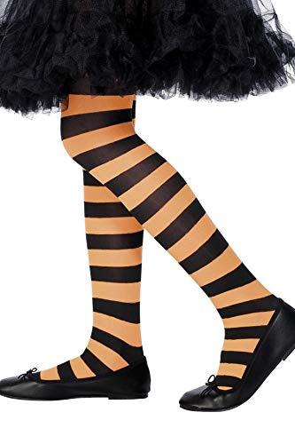 Smiffys kinderen meisjes gestreepte panty, leeftijd: 6-12 jaar, oranje en zwart, 22079