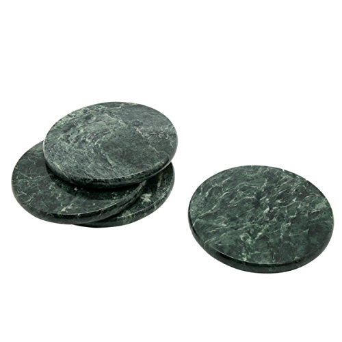 Creative Home Natural Stone Green Marble 4' Diameter Set of 4 Piece Coasters