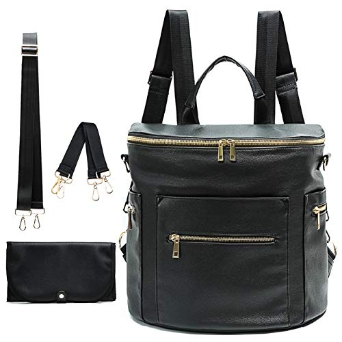 Diaper bag, Leather Diaper Bag Backpack by MF Store, Diaper Backpack with Laptop Sleeve,Changing Pad,Wipes Pouch,Stroller Straps and Insulated Pockets